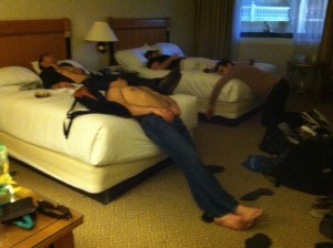 Actual photograph of me and a few buddies in a Vegas hotel room back in March. Impending Fear Level = 9.7, one of the highest on record